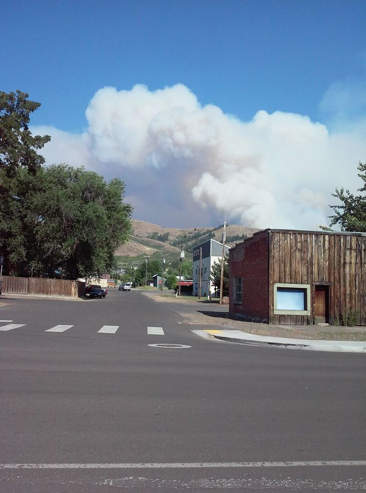 July 27, 2018. Smoke from the Mesa Fire near Council, Idaho.