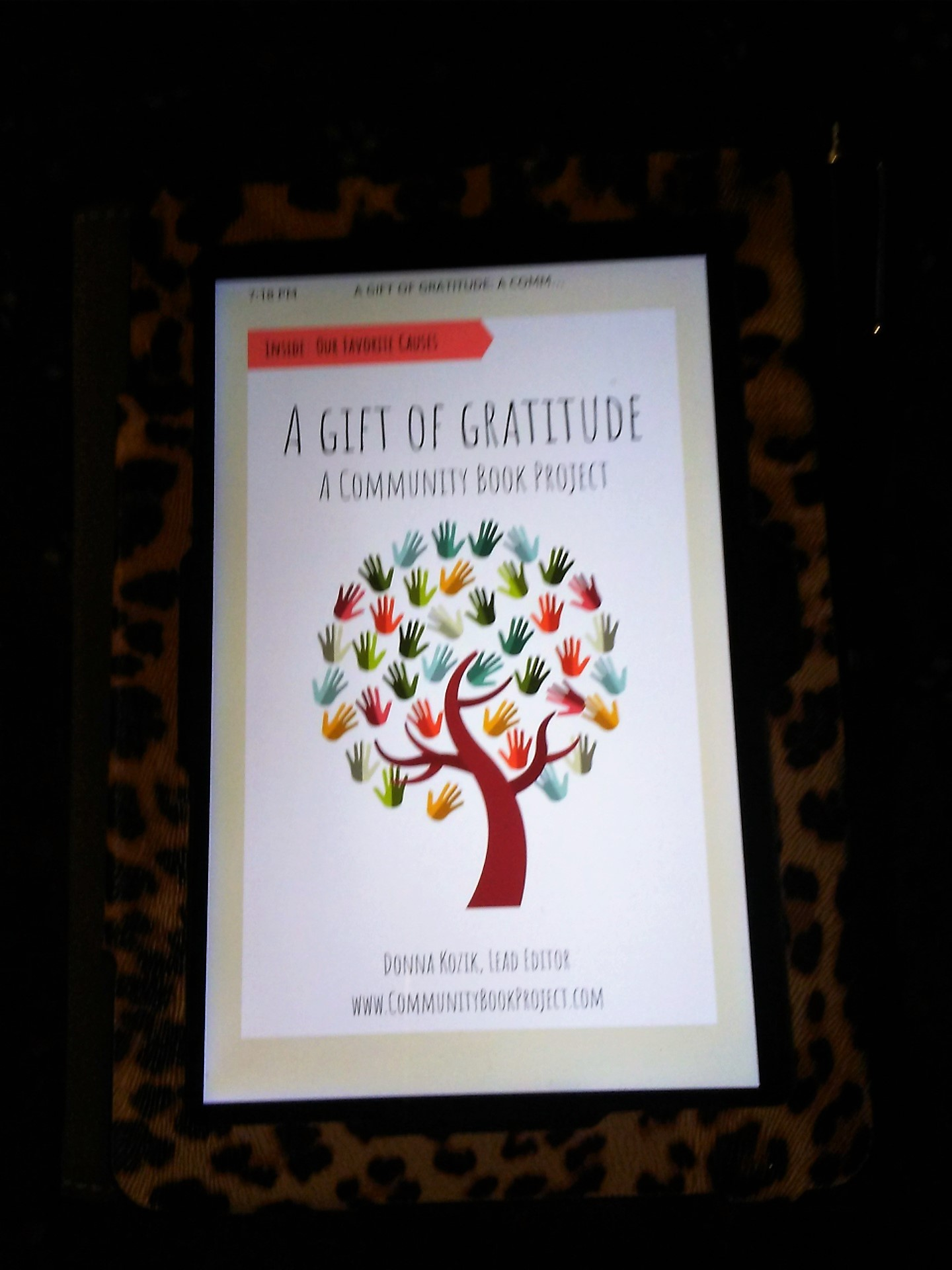 "My Kindle copy of ""A Gift of Gratitude""! I'm an Amazon author!"